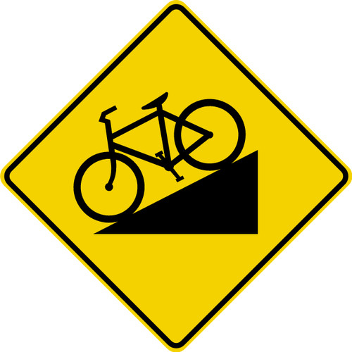 diamond shape, black and yellow. image of bike going downhill.