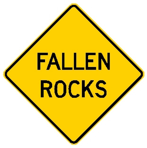 "Diamond shape, yellow and black, ""Fallen Rocks"""