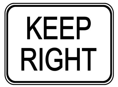 "Black and White ""Keep Right"" sign, 24"" x 18"", Reflective, High Intensity Prismatic"