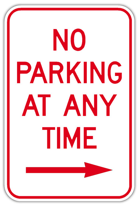 No Parking Any Time with Right Arrow