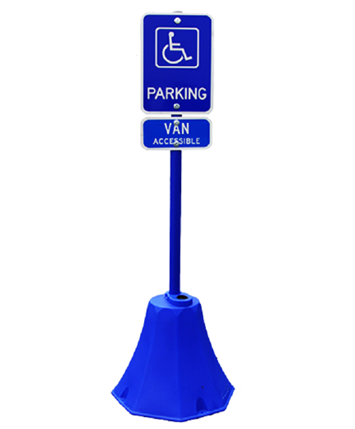 Blue Octagon Sign Base with Sign Pole and Handicap Sign with Bag of BaseGel.
