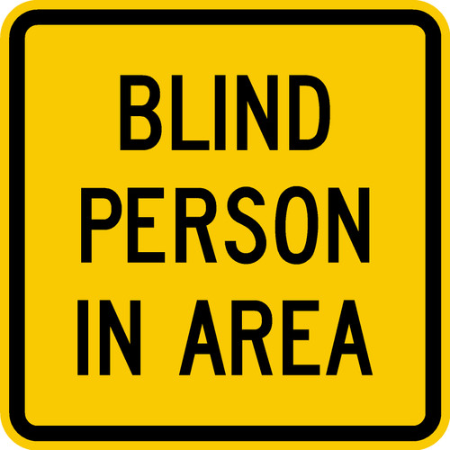 blind person in area