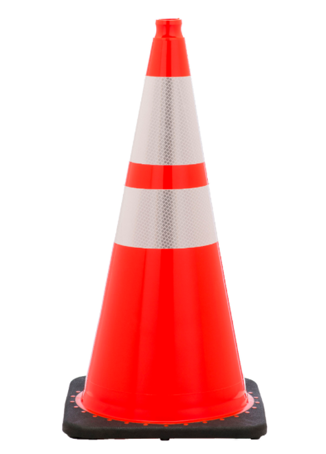 "28"" Traffic Cone with Reflective Collars"