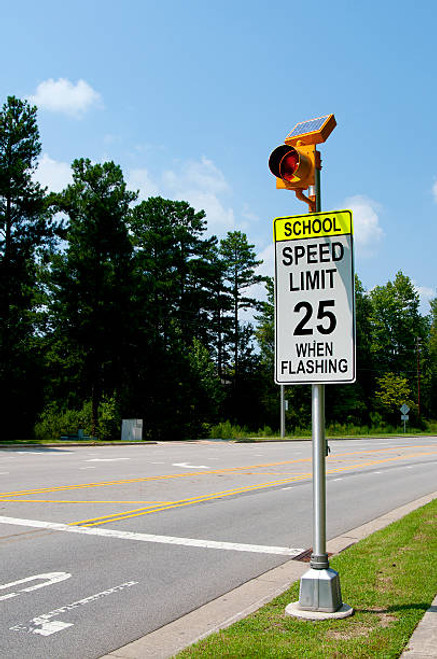Flashing LED School Zone Speed Limit with Beacon