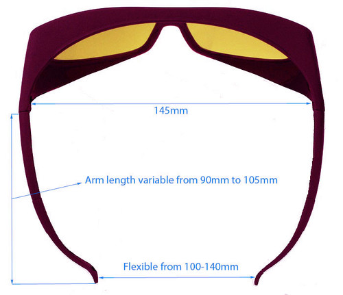 LG-002 Alexandrite YAG laser Safety Glasses Dimensions