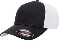 6511T Flexfit Hat Mesh Cotton Twill Trucker Two-Tone Cap- Black / White
