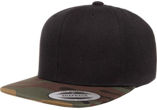Yp Classics Premium Snapback Camo Cap - 2 Tone Black Green Camo