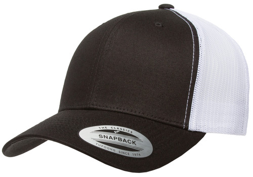6606T Yupoong Adjustable Hat Trucker Two-Tone Cap- Black / White