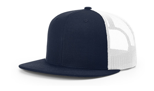 511 Richardson Wool Blend Flatbill Trucker Cap-Navy/White