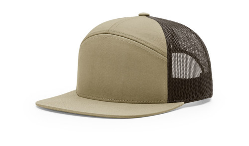 168 Richardson 7-Panel Trucker Cap-Pale Khaki/Brown