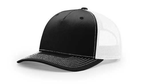 New Richardson Five Panel Classic Trucker Cap 112Fp-Black/White
