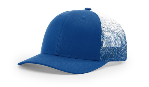 New Richardson Printed Mesh Trucker Precurved Visor Cap 112Pm-Royal/Royal- white Fade
