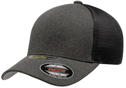 New Flexfit Unipanel Trucker Mesh Curved Visor Cap 5511Up Dark Grey Black