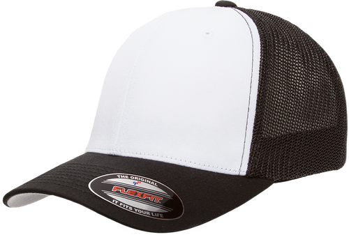 Flexfit Hat Mesh Cotton Twill Trucker Cap - Black/White/Black