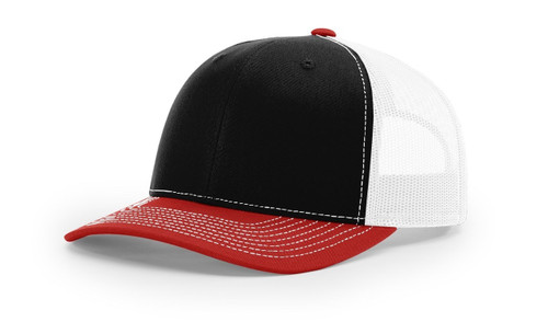 112 Richardson Twill Mesh Back Trucker Snapback Cap -black-white-red