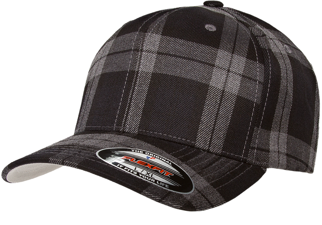 flexfit-tartan-plaid-cap-Black/Gray