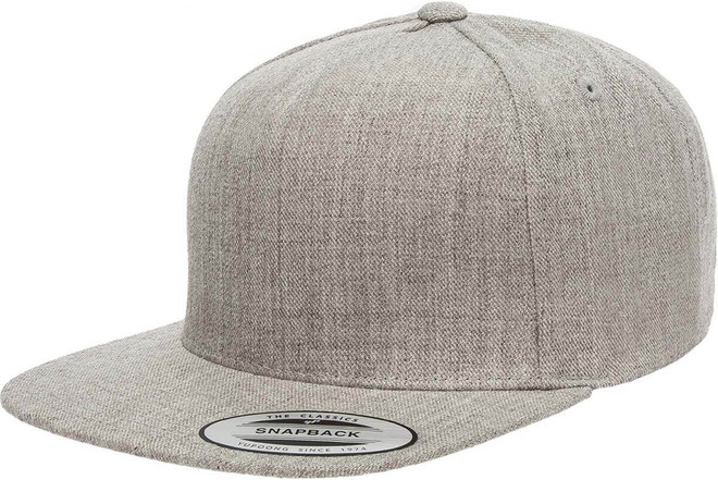 5089M Premium 5 Panel Snapback - Heather Grey