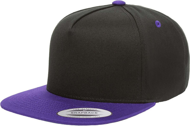 6007T 5 Panel Cotton Twill Snapback 2-Tone -Black/Purple