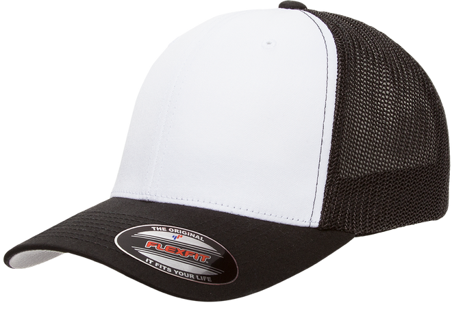 55656f87ffaa5 6511W Blank Flexfit Hat Mesh Cotton Twill Trucker Cap - The Hat Pros