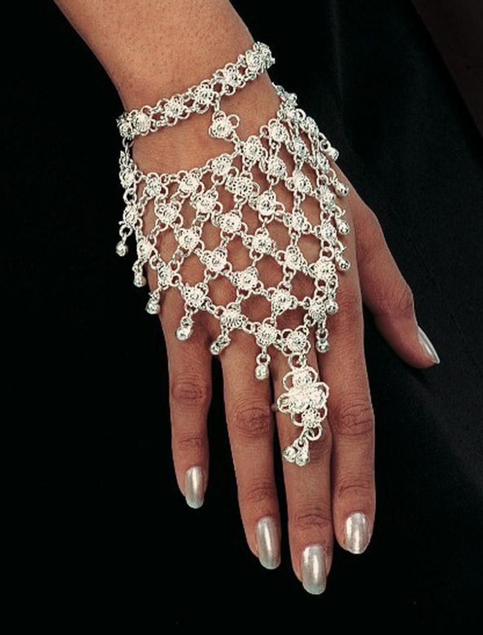 Belly Dance Hand Decoration Slave Bracelet Silver ONE SIZE