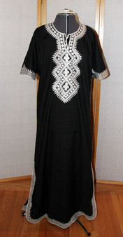Cotton Caftans With White Embroidery from Morocco