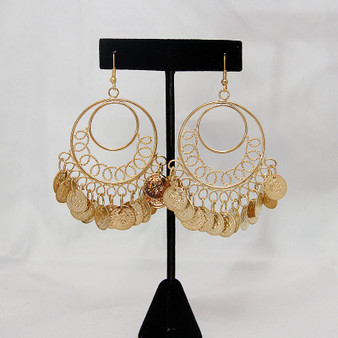 Lightweight Hoop Earrings With Hanging Coins