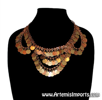Belly Dance Necklace with Loops & Coins - Copper Tones