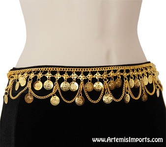 Belly Dance Belt with Loops and Coins - Gold Tone