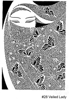 Rubber Stamp ~ Veiled Lady