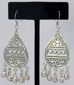 Sterling Silver Earrings ~ Arabesque Teardrop with Crescent Moons and Stars for Belly Dance