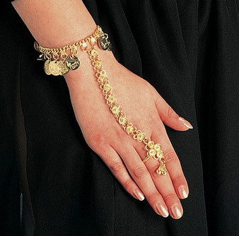 Belly Dance Slave Bracelet With Coins & One Ring - Gold or Silver