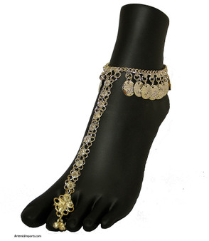 Belly Dance Slave Anklet with Coins and One Toe Ring in Gold Tone.