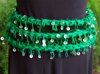 Green Deluxe Long Mozuna Ropes From Morocco - Belly Dance
