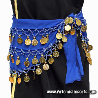 Belly Dance Coin Hip Scarves For Children - Blue/Gold