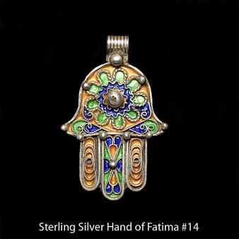 Hand of Fatima, Hamsa – Tuareg Sterling Silver Enamel Pendant From Morocco #14