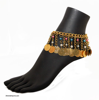 Belly Dance / Tribal Anklet with Chain Fringe, Coins and Pastel Beads in Gold Tone