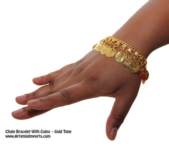 Belly Dance / Tribal Chain Bracelet With Coins in gold color are a great way to to accessorize your belly dance / tribal costume.