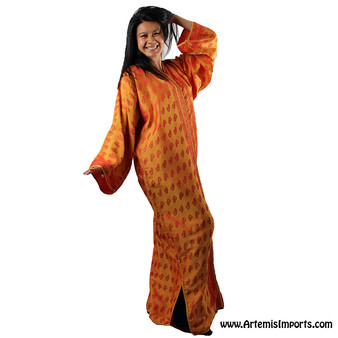 Vintage Caftan Orange, would make a nice cover-up for Belly Dance /Tribal dance sets.