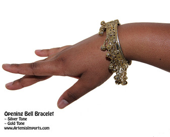 Belly Dance Bracelet Deluxe Binty Bell with Pin Closure in Gold Tone.