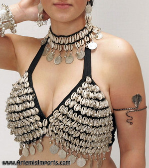 Belly Dance Bra with Cowrie Shells & Coins, Jewelry Sold Separately