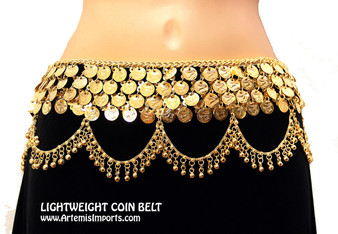 Lightweight Coins Belt with Binty Loop Drapes in Gold Tone