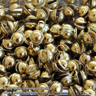 Gold Tone Binty Bells (Ghungroo Bells) to Make Your Own Belly Dance Costume
