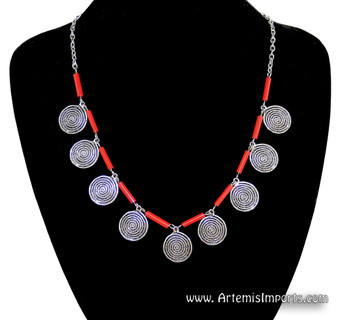 Red Bugle Bead and Spiral Coin Necklace - Morocco, Berber