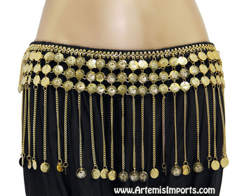 Belly Dance Coin Belt with Chain and Coin Fringe in Gold Tone