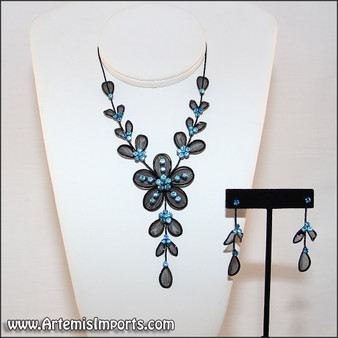 Belly Dance Necklace & Earrings in Black Wire & Blue Rhinestones