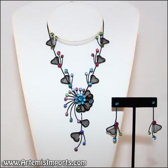 Belly Dance Necklace & Earrings in Black Wire & Multi-Color Rhinestones