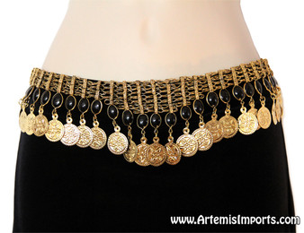 Belly Dance Belt - Coins & Black Resin Beads on Gold Tone Mesh