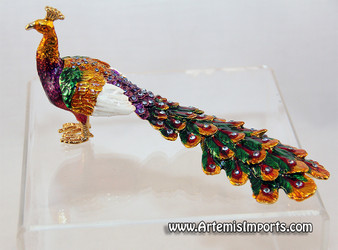 Peacock - Enameled Crystal Hinged Jewelry Box