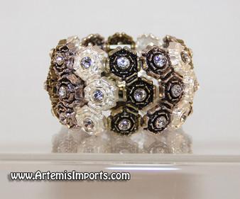 Belly Dance Rose & Rhinestone Stretch Bracelet