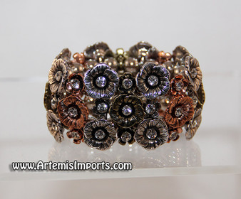 Belly Dance Flower & Rhinestone Stretch Bracelet